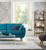 NW36608 chinoiserie silhouette botanical peel and stick wallpaper living room from NextWall