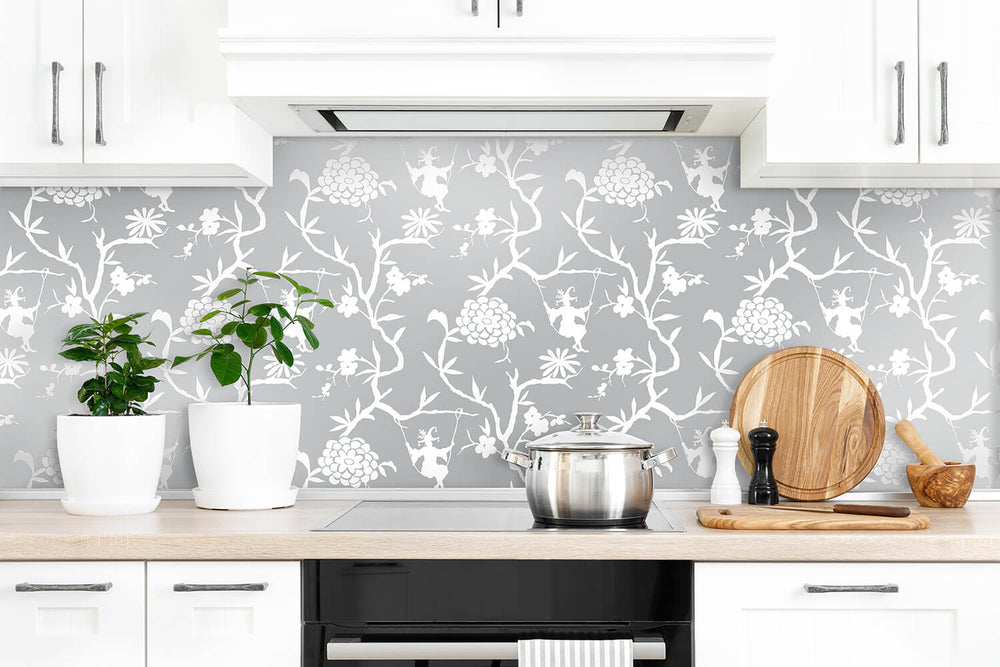 NW36608 chinoiserie silhouette botanical peel and stick wallpaper backsplash from NextWall