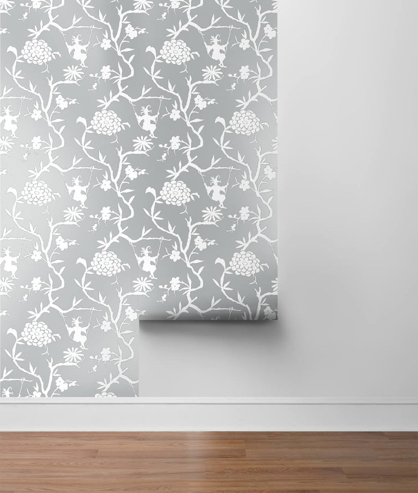 NW36608 chinoiserie silhouette botanical peel and stick wallpaper roll from NextWall