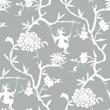 NW36608 chinoiserie silhouette botanical peel and stick wallpaper from NextWall