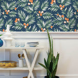 NW36702 citrus branch botanical peel and stick wallpaper dining room from NextWall