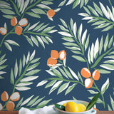 NW36702 citrus branch botanical peel and stick wallpaper decor from NextWall