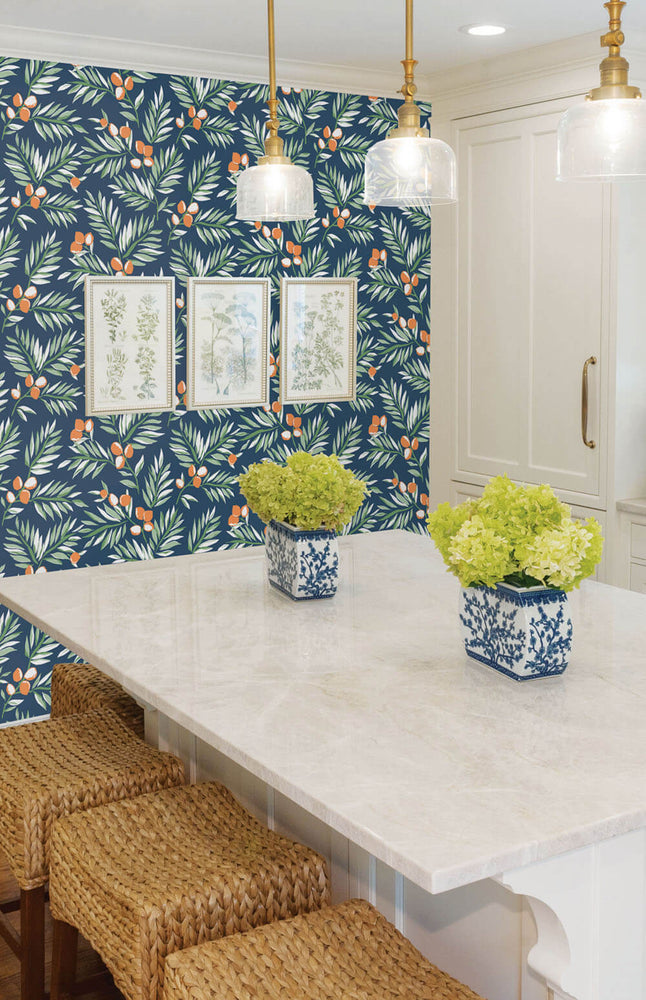 NW36702 citrus branch botanical peel and stick wallpaper kitchen from NextWall