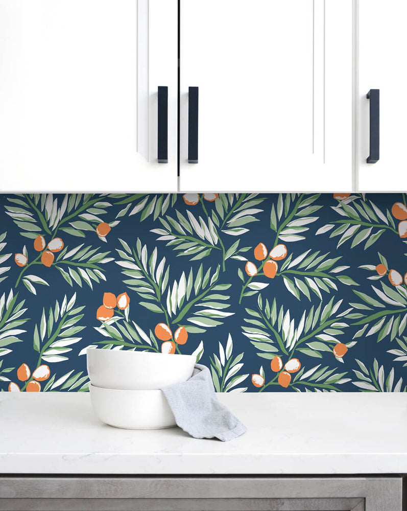 NW36702 citrus branch botanical peel and stick wallpaper backsplash from NextWall