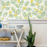 NW36703 lemon branch botanical peel and stick removable wallpaper dining room from NextWall