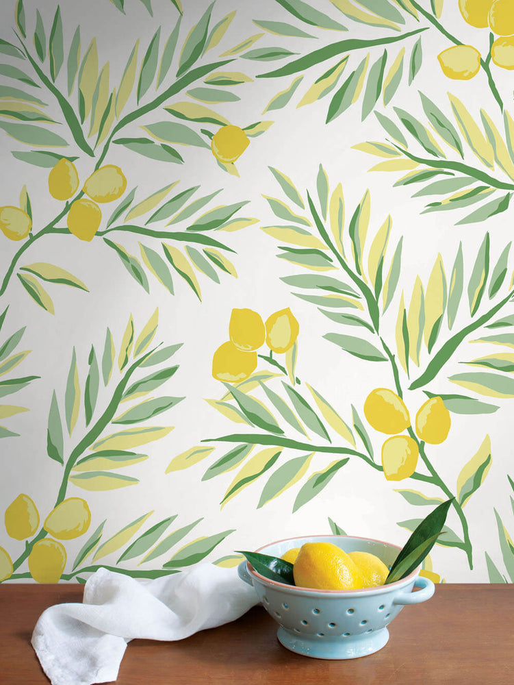 NW36703 lemon branch botanical peel and stick removable wallpaper decor from NextWall