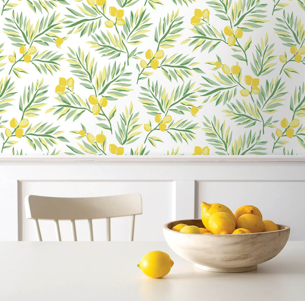 NW36703 lemon branch botanical peel and stick removable wallpaper table from NextWall