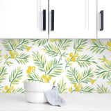 NW36703 lemon branch botanical peel and stick removable wallpaper backsplash from NextWall