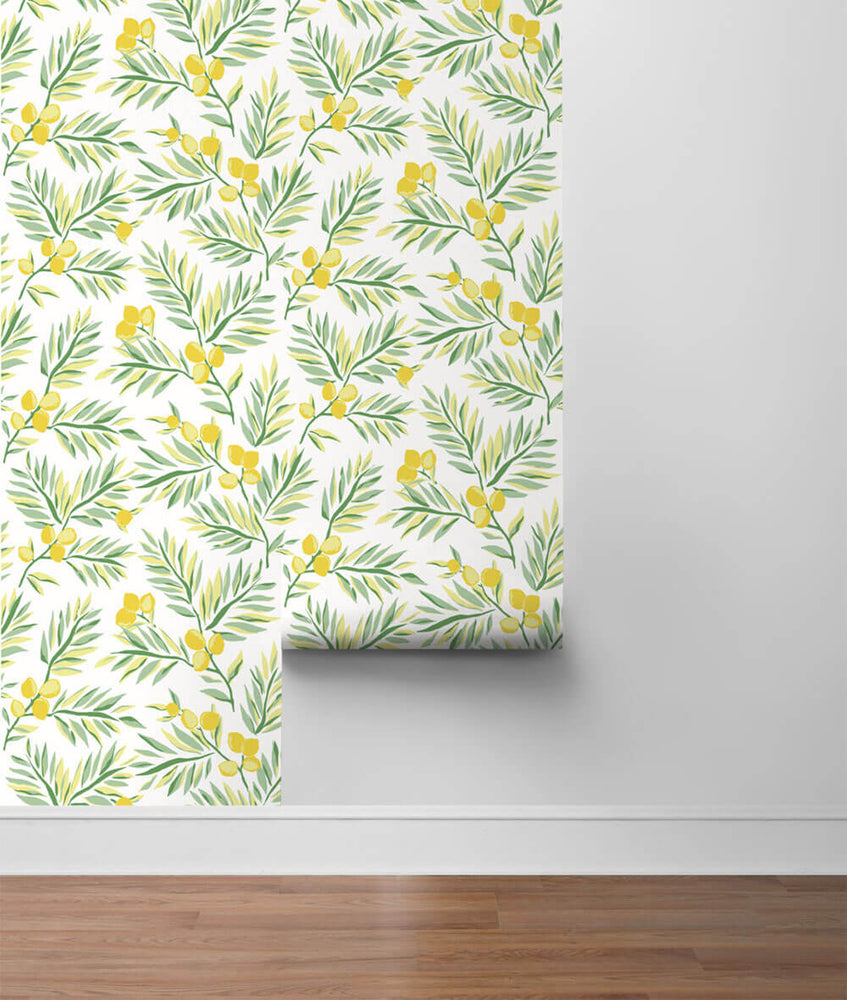 NW36703 lemon branch botanical peel and stick removable wallpaper roll from NextWall