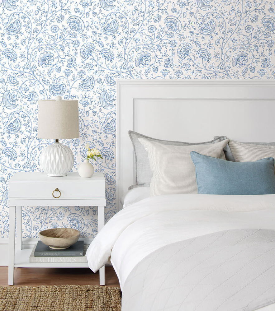 NW36802 paisley trail bohemian peel and stick removable wallpaper bedroom from NextWall