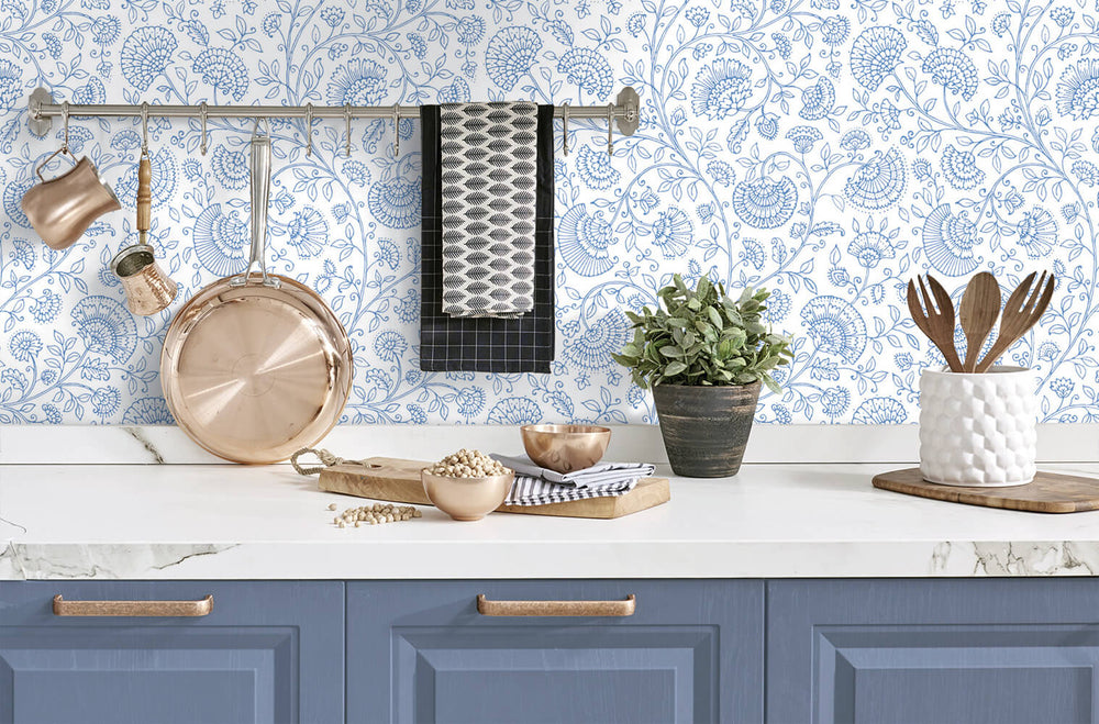 NW36802 paisley trail bohemian peel and stick removable wallpaper kitchen from NextWall