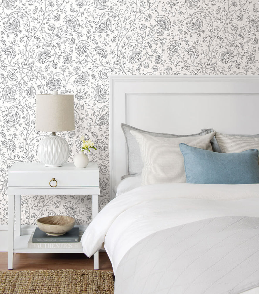 NW36808 paisley trail bohemian peel and stick removable wallpaper bedroom from NextWall