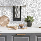 NW36808 paisley trail bohemian peel and stick removable wallpaper kitchen from NextWall