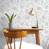 NW36808 paisley trail bohemian peel and stick removable wallpaper desk from NextWall