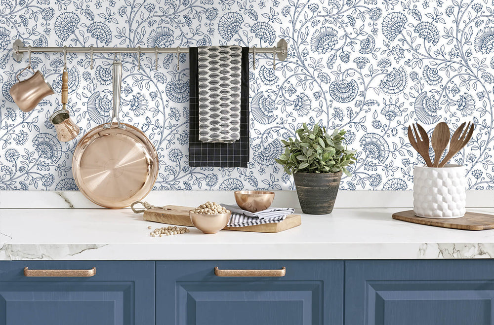 NW36812 paisley trail bohemian peel and stick removable wallpaper kitchen from NextWall