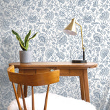 NW36812 paisley trail bohemian peel and stick removable wallpaper desk from NextWall