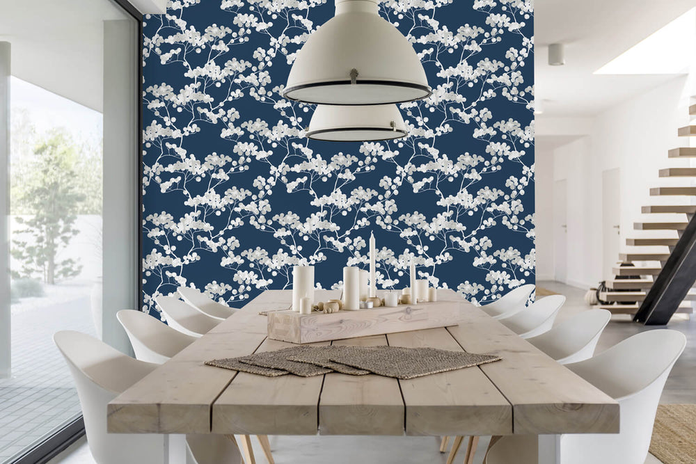 NW37202 cyprus blossom floral peel and stick removable wallpaper dining room by NextWall