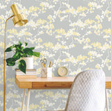 NW37203 cyprus blossom floral peel and stick removable wallpaper desk by NextWall