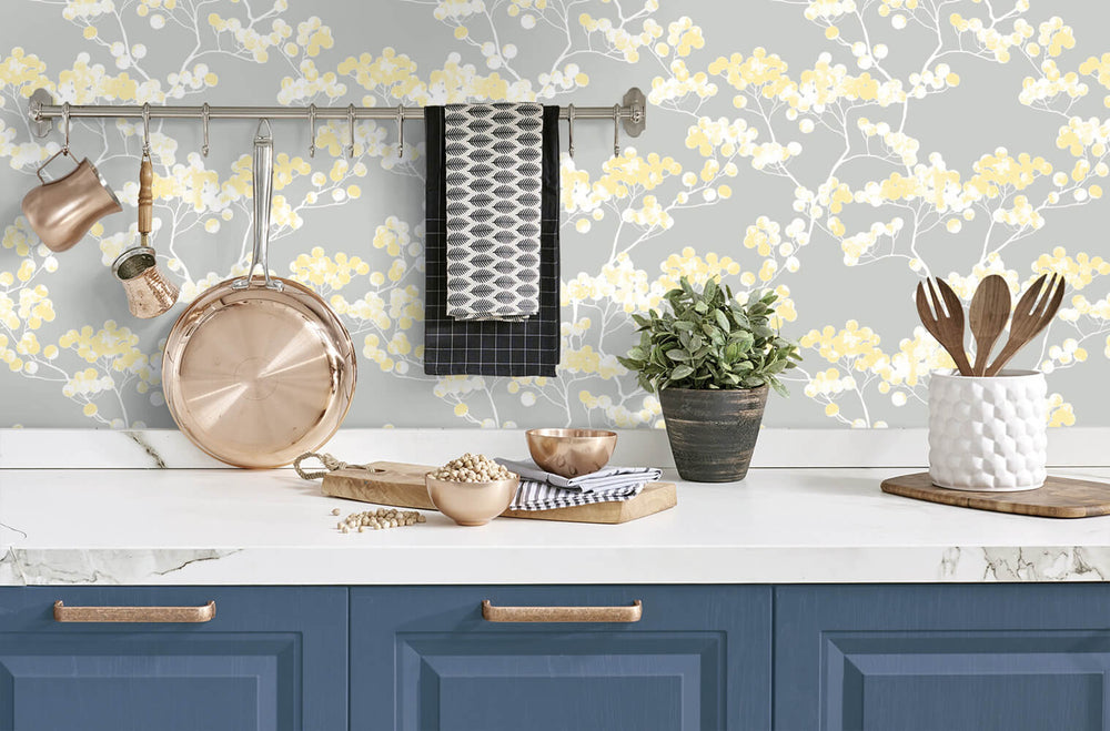 NW37203 cyprus blossom floral peel and stick removable wallpaper kitchen by NextWall
