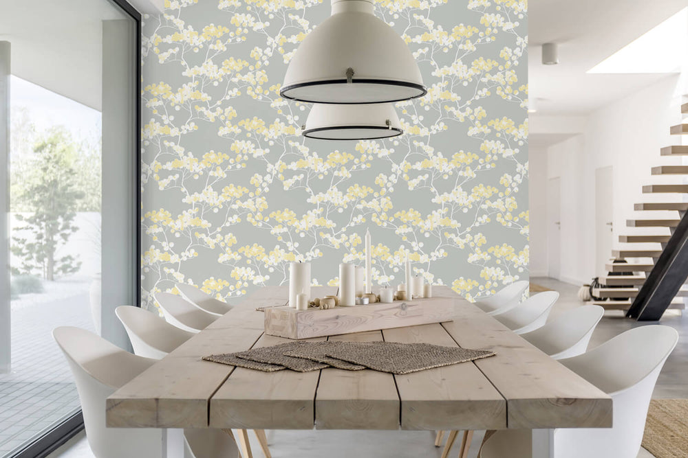 NW37203 cyprus blossom floral peel and stick removable wallpaper dining room by NextWall