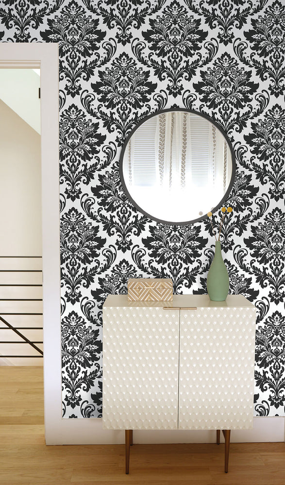 NW37400 black damask peel and stick removable wallpaper bedroom from NextWall