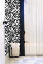 NW37400 black damask peel and stick removable wallpaper bathroom from NextWall