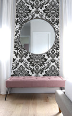 NW37400 black damask peel and stick removable wallpaper decor from NextWall