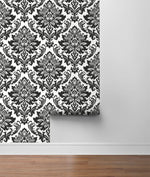 NW37400 black damask peel and stick removable wallpaper roll from NextWall