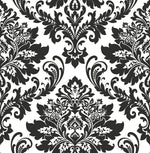 NW37400 black damask peel and stick removable wallpaper from NextWall