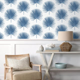 NW37502 palmetto palm tropical peel and stick removable wallpaper living room from NextWall