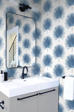 NW37502 palmetto palm tropical peel and stick removable wallpaper bathroom from NextWall