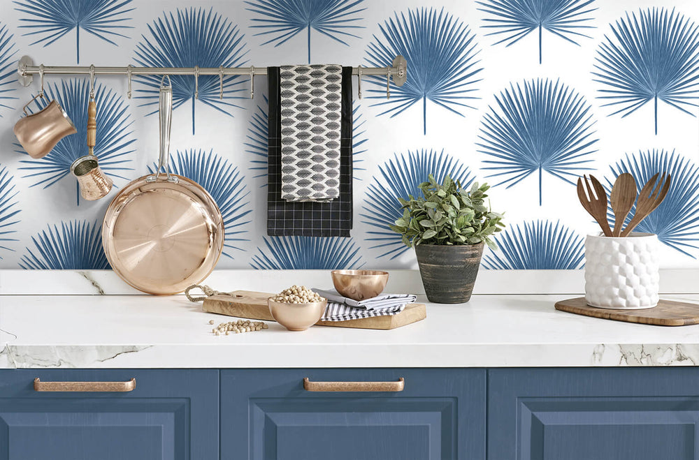 NW37502 palmetto palm tropical peel and stick removable wallpaper kitchen from NextWall