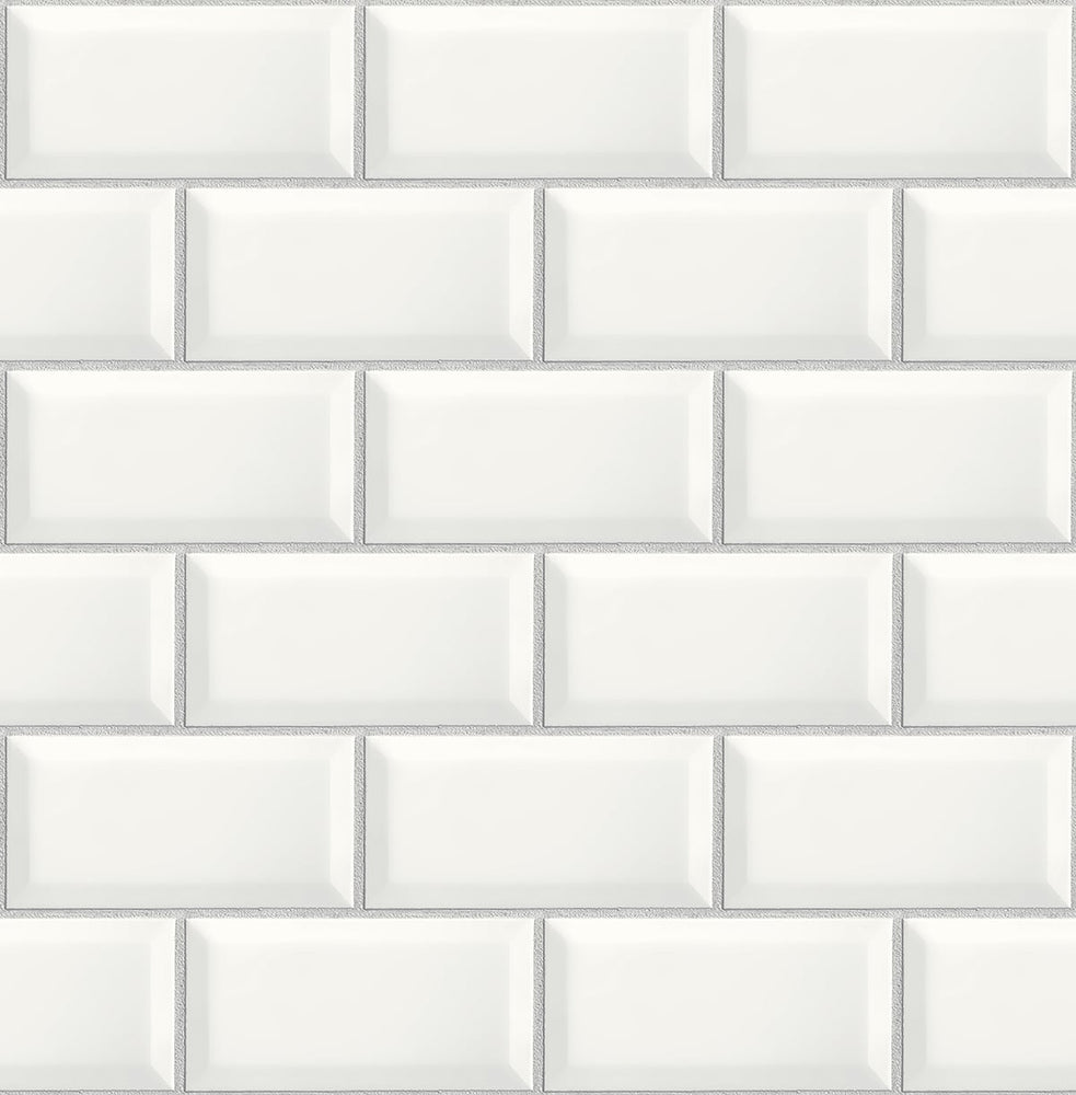 NextWall Large Subway Tile Peel and Stick Removable Wallpaper