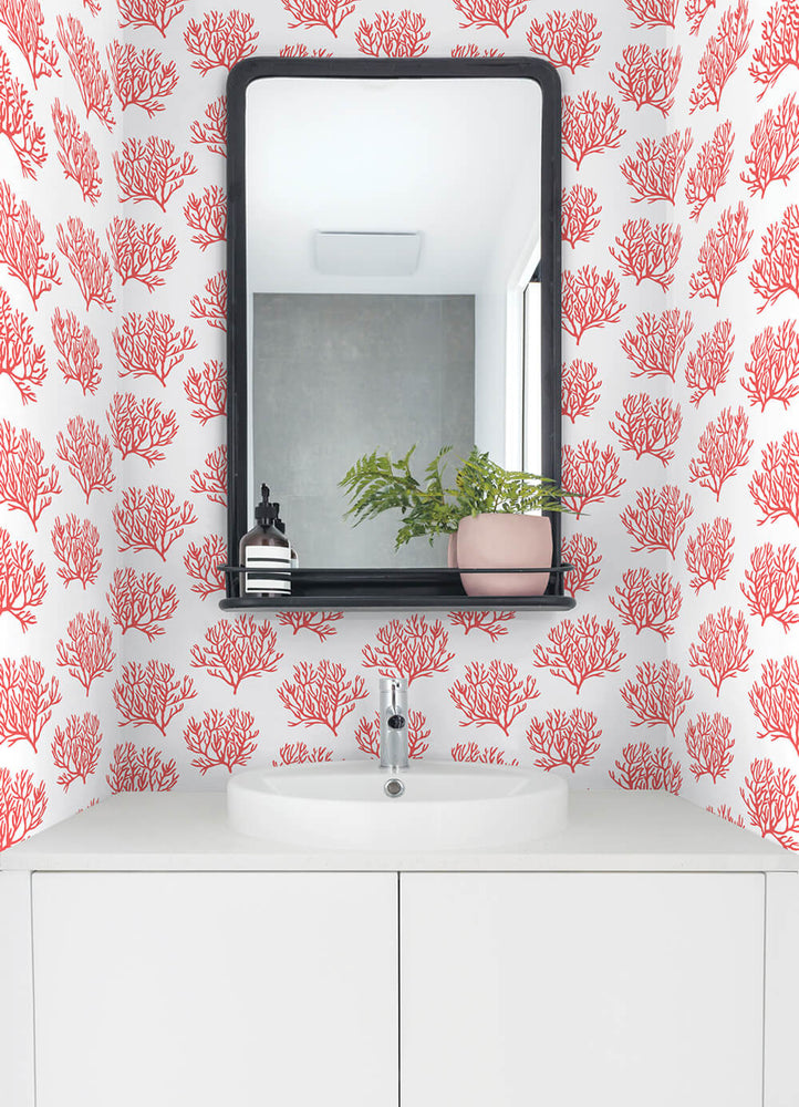 NW38001 coastal coral reef peel and stick removable wallpaper bathroom from NextWall