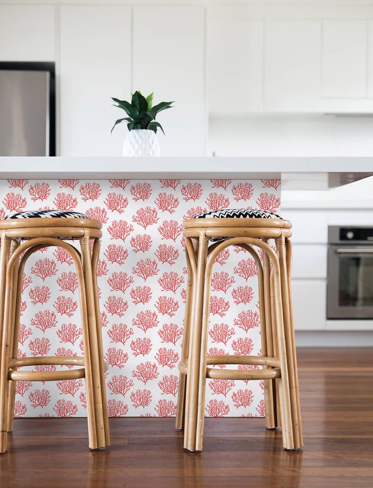 NW38001 coastal coral reef peel and stick removable wallpaper kitchen from NextWall