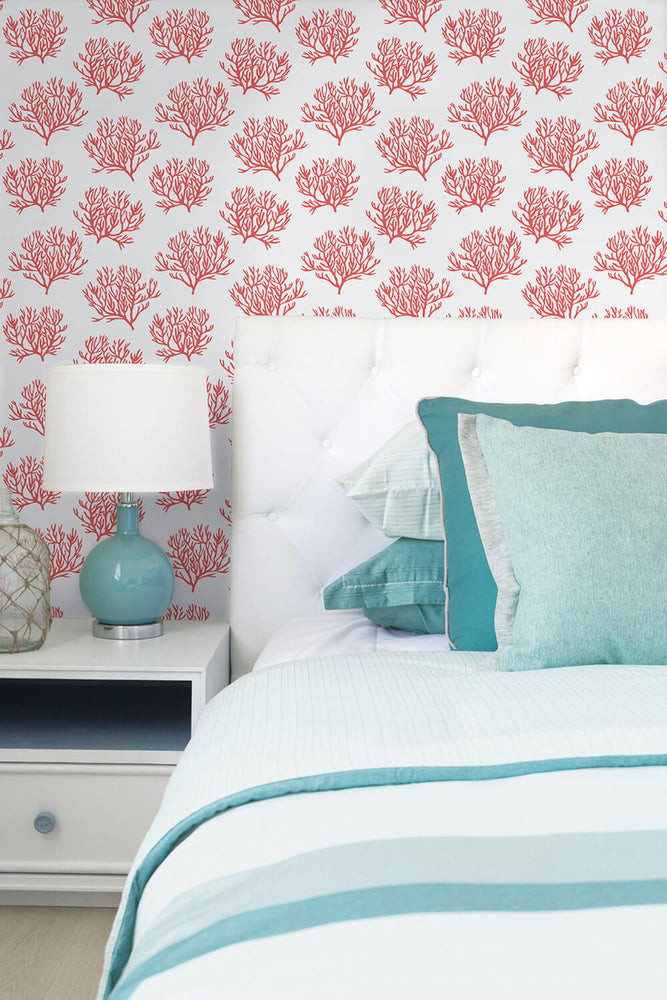 NW38001 coastal coral reef peel and stick removable wallpaper bedroom from NextWall