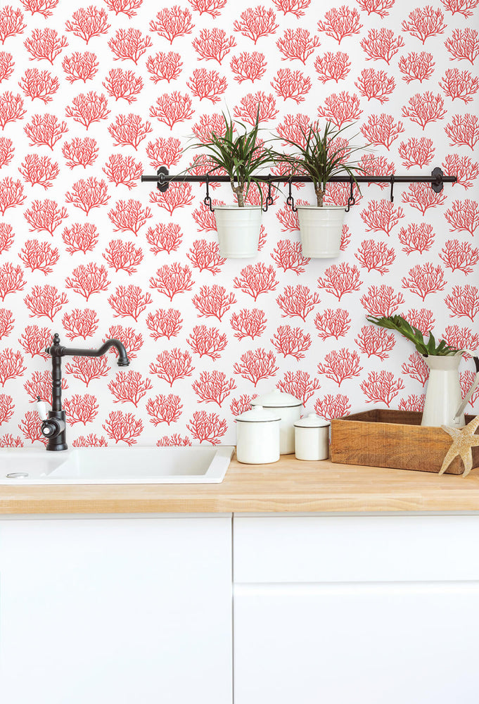 NW38001 coastal coral reef peel and stick removable wallpaper backsplash from NextWall