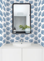 NW38002 coastal coral reef peel and stick removable wallpaper bathroom from NextWall