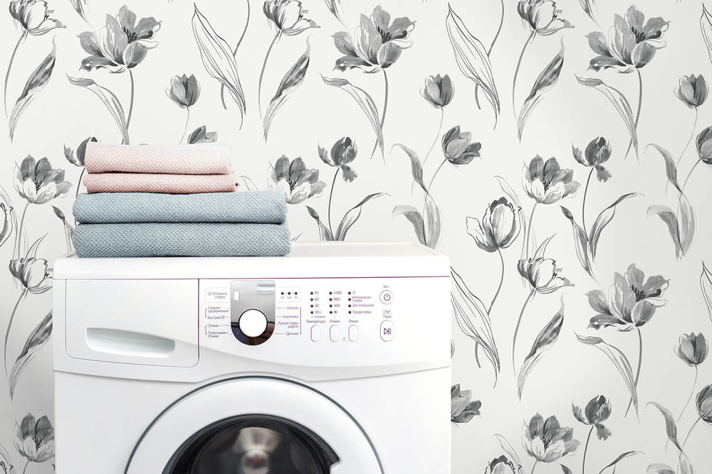 NW38100 Tulip toss floral peel and stick wallpaper laundry room from NextWall