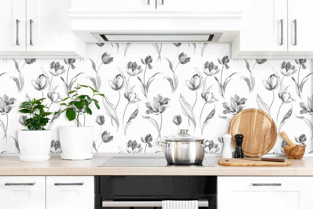 NW38100 Tulip toss floral peel and stick wallpaper kitchen from NextWall