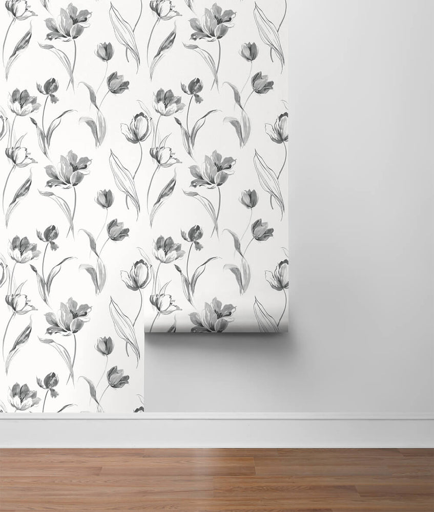 NW38100 Tulip toss floral peel and stick wallpaper roll from NextWall