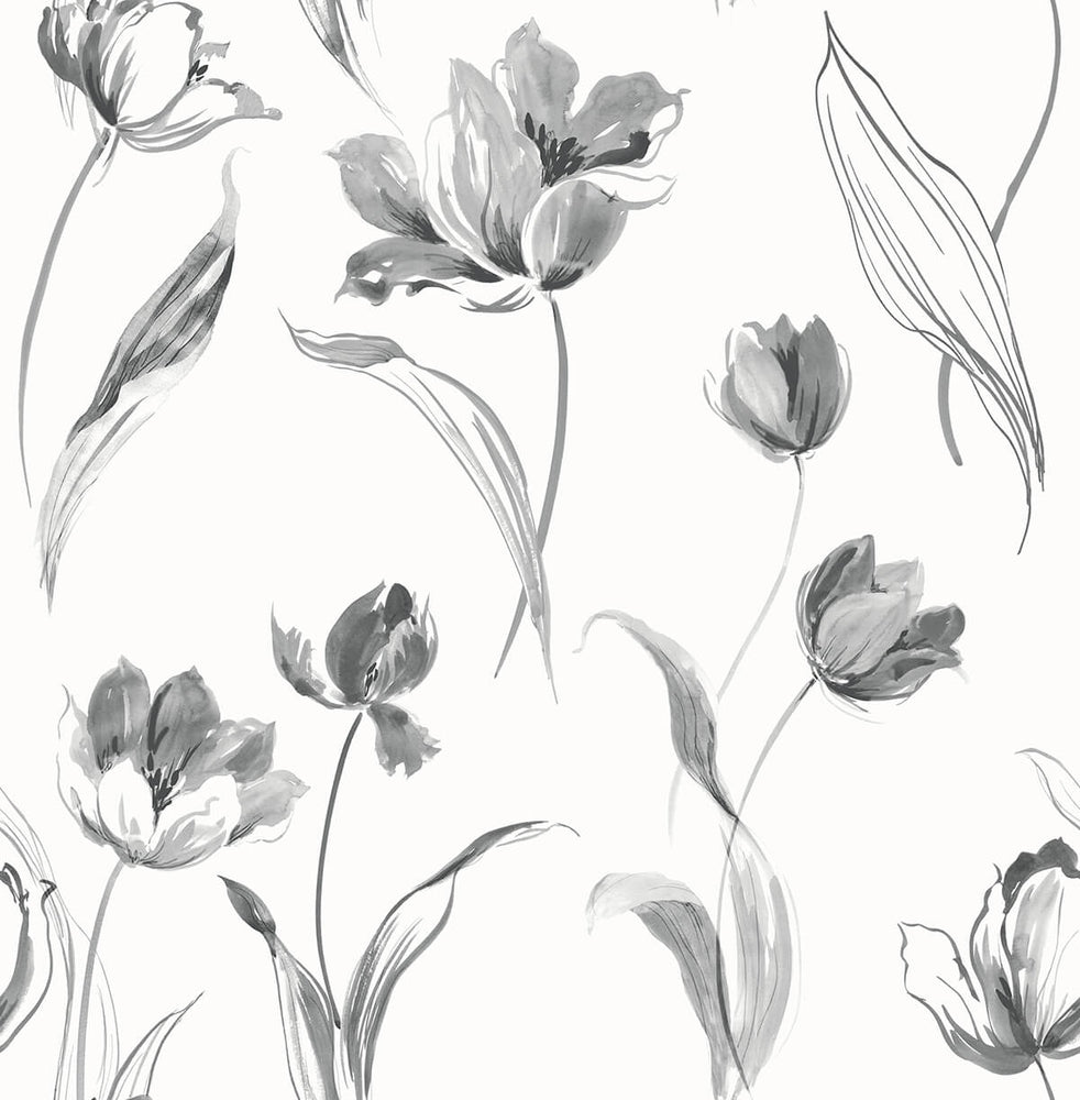 NW38100 Tulip toss floral peel and stick wallpaper from NextWall