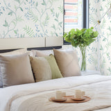 NW38204 watercolor leaf trail botanical peel and stick wallpaper bedroom from NextWall