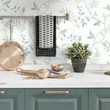 NW38204 watercolor leaf trail botanical peel and stick wallpaper kitchen from NextWall