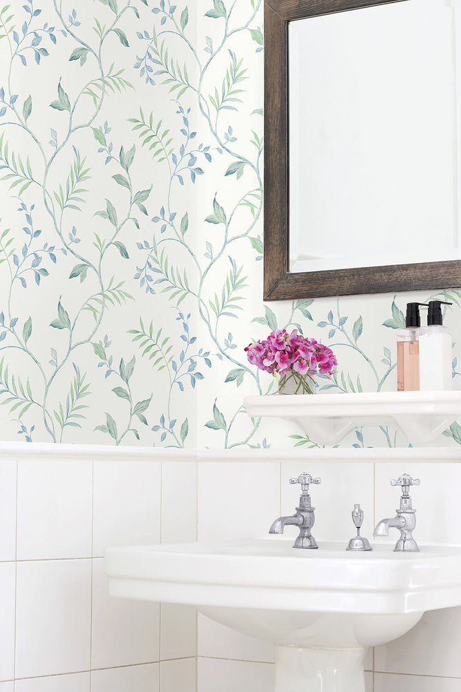 NW38204 watercolor leaf trail botanical peel and stick wallpaper bathroom from NextWall