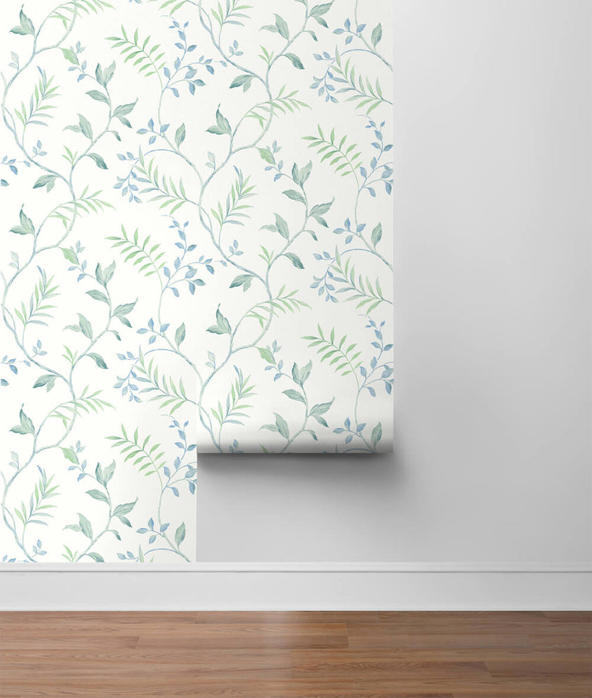 NW38204 watercolor leaf trail botanical peel and stick wallpaper roll from NextWall
