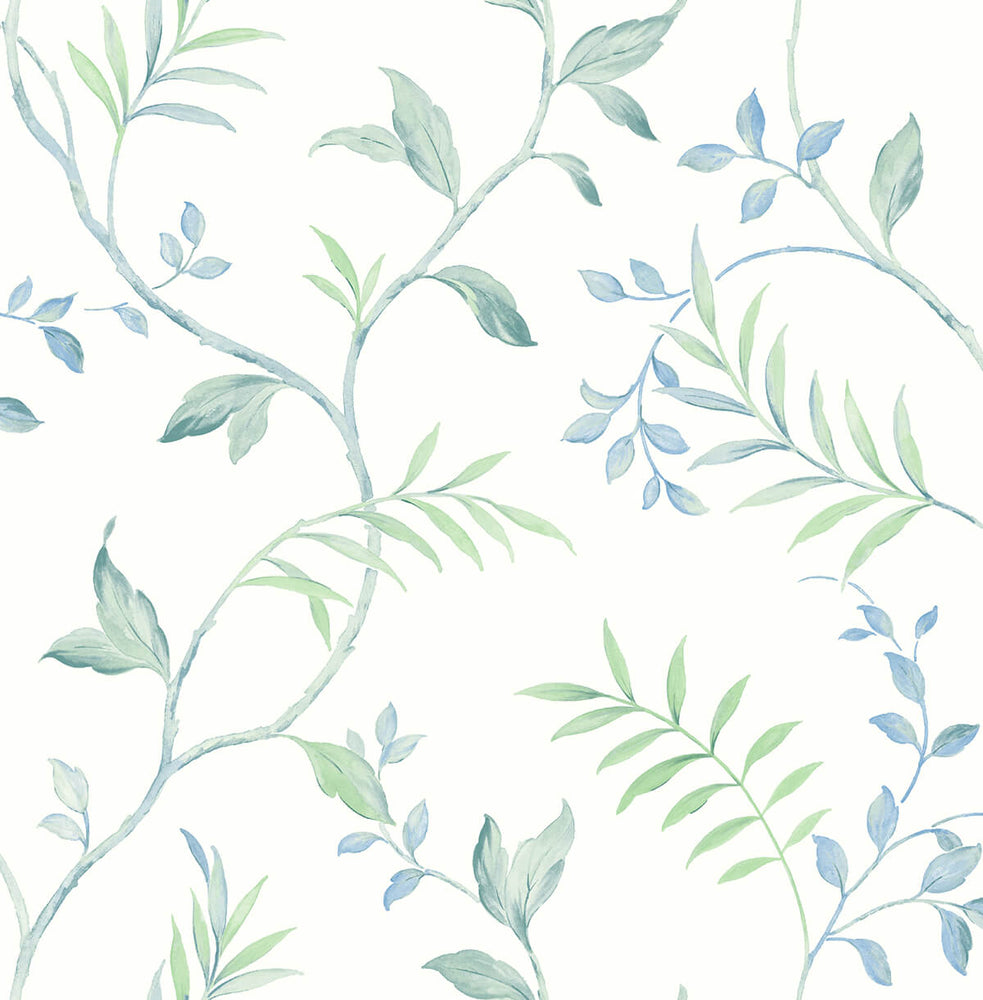 NextWall Watercolor Leaf Trail Peel and Stick Removable Wallpaper