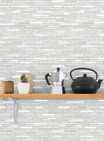 NW38400 faux mosaic tile peel and stick removable wallpaper shelf from NextWall