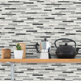 NW38410 faux mosaic tile peel and stick removable wallpaper shelf from NextWall