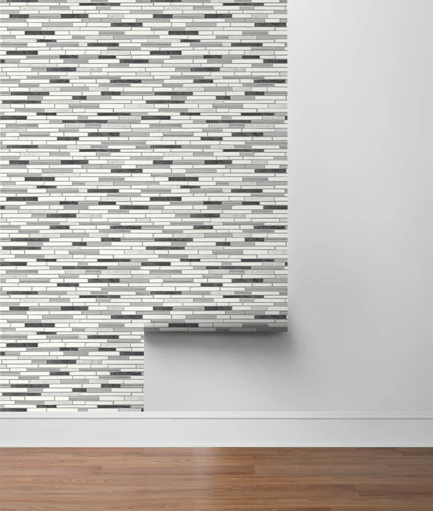 NW38410 faux mosaic tile peel and stick removable wallpaper roll from NextWall